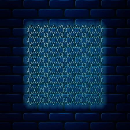 Glowing neon Chain Fence icon isolated on brick wall background. Metallic wire mesh pattern. Vector Illustration Ilustração