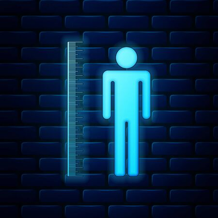 Glowing neon Measuring height body icon isolated on brick wall background. Vector Illustration
