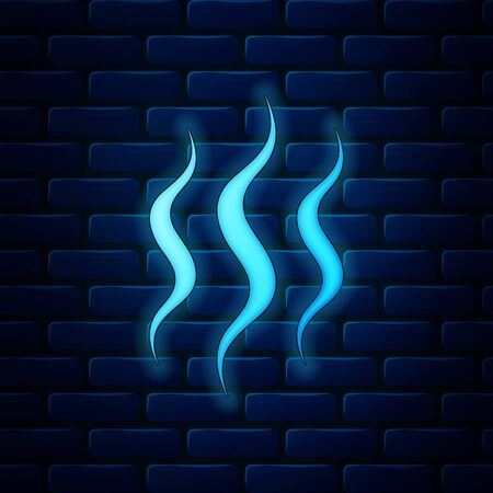 Glowing neon Steam icon isolated on brick wall background. Vector Illustration
