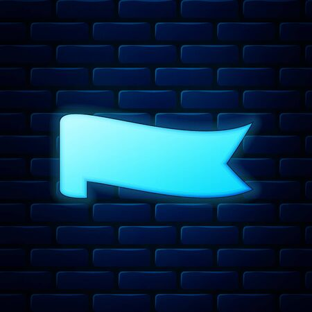 Glowing neon Banner ribbon icon isolated on brick wall background. Vector Illustration Ilustrace