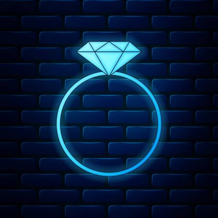 Glowing neon Diamond engagement ring icon isolated on brick wall background. Vector Illustration Illusztráció