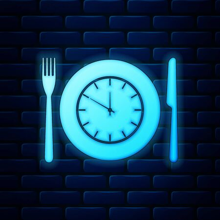 Glowing neon Plate with clock, fork and knife icon isolated on brick wall background. Lunch time. Eating, nutrition regime, meal time and diet concept. Vector Illustration