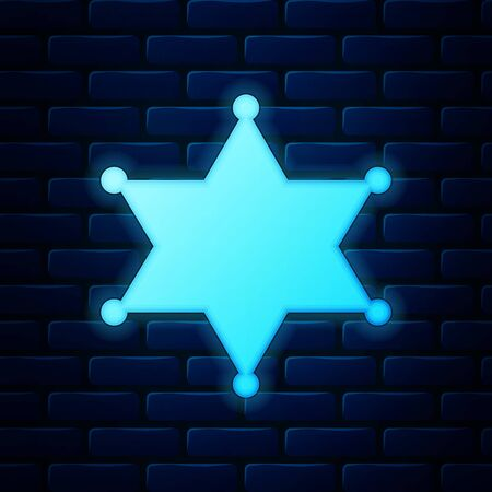 Glowing neon Hexagram sheriff icon isolated on brick wall background. Police badge icon. Vector Illustration
