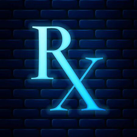 Glowing neon Medicine symbol Rx prescription icon isolated on brick wall background. Vector Illustration