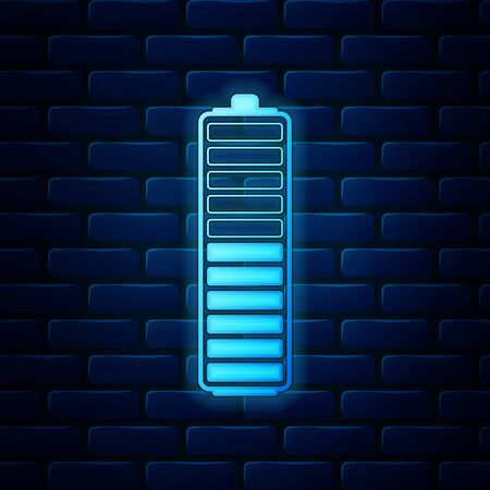 Glowing neon Battery charge level indicator icon isolated on brick wall background. Battery charging - power sign. Electricity symbol - energy sign. Vector Illustration Vettoriali