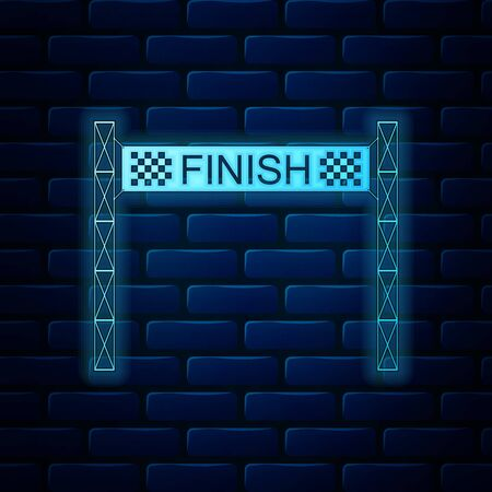 Glowing neon Ribbon in finishing line icon isolated on brick wall background. Symbol of finish line. Sport symbol or business concept. Vector Illustration