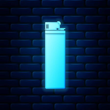 Glowing neon Lighter icon isolated on brick wall background. Vector Illustration Ilustracja