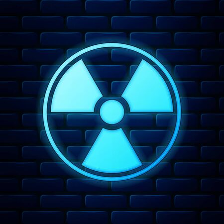 Glowing neon Radioactive icon isolated on brick wall background. Radioactive toxic symbol. Radiation Hazard sign. Vector Illustration Vector Illustration