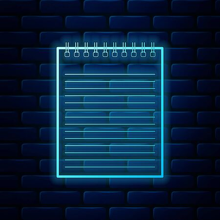 Glowing neon Notebook icon isolated on brick wall background. Spiral notepad icon. School notebook. Writing pad. Diary for business. Notebook cover design. Vector Illustration
