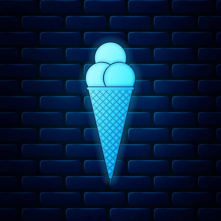 Glowing neon Ice cream in waffle cone icon isolated on brick wall background. Vector Illustration