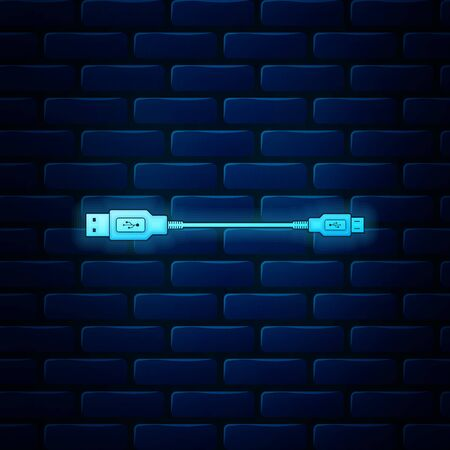 Glowing neon USB Micro cables icon on brick wall background. Connectors and sockets for PC and mobile devices. Computer peripherals connector or smartphone recharge supply. Vector Illustration Ilustración de vector