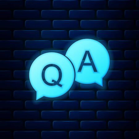 Glowing neon Question and Answer mark in speech bubble icon isolated on brick wall background. Q and A symbol. FAQ sign. Copy files, chat speech bubble and chart web icons. Vector Illustration