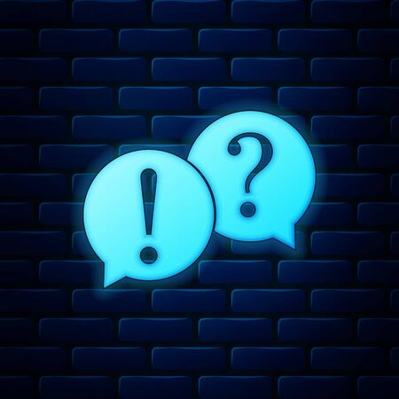 Glowing neon Speech bubbles with Question and Exclamation marks icon isolated on brick wall background. FAQ sign. Copy files, chat speech bubble and chart web icons. Vector Illustration