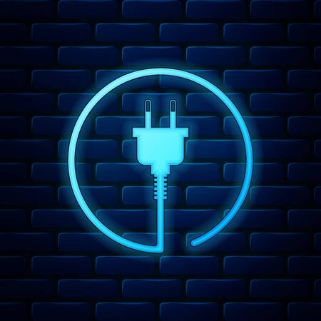 Glowing neon Electric plug icon isolated on brick wall background. Concept of connection and disconnection of the electricity. Vector Illustration