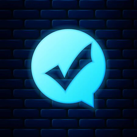 Glowing neon Check mark in circle icon isolated on brick wall background. Choice button sign. Checkmark symbol. Speech bubble icon. Vector Illustration