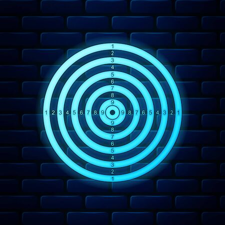Neon incandescente Sport di destinazione per la ripresa dell'icona della competizione isolata sullo sfondo del muro di mattoni. Bersaglio pulito con numeri per il poligono di tiro o il tiro con la pistola. illustrazione vettoriale Vettoriali