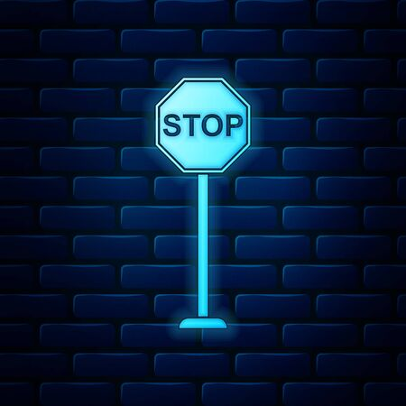 Glowing neon Stop icon isolated on brick wall background. Traffic regulatory warning stop symbol. Vector Illustration 向量圖像