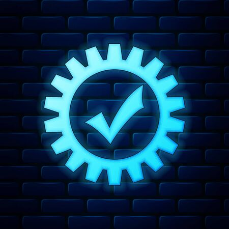 Glowing neon Gear with check mark icon isolated on brick wall background. Cogwheel simple icon. Approved service sign. Transmission Rotation Mechanism symbol. Vector Illustration Foto de archivo - 138238999