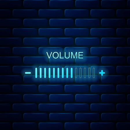Glowing neon Volume adjustment icon isolated on brick wall background. Vector Illustration