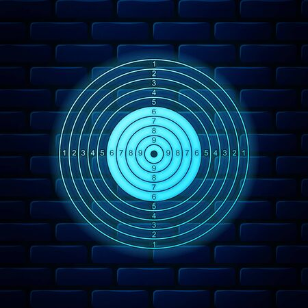 Świecące neon Sport docelowy dla strzelania ikona konkurencji na białym tle na tle ceglanego muru. Czysty cel z numerami do strzelnicy lub strzelania z pistoletu. Ilustracja wektorowa Ilustracje wektorowe