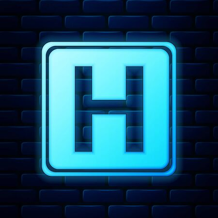 Glowing neon Hospital sign icon isolated on brick wall background. Vector Illustration