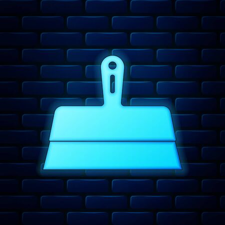 Glowing neon Putty knife icon isolated on brick wall background. Spatula repair tool. Spackling or paint instruments. Vector Illustration