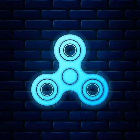 Glowing neon Fidget spinner icon isolated on brick wall background. Stress relieving toy. Trendy hand spinner. Vector Illustration