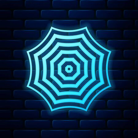 Glowing neon Sun protective umbrella fo beach icon isolated on brick wall background. Large parasol for outdoor space. Beach umbrella. Summer vacation or picnic accessory. Vector Illustration