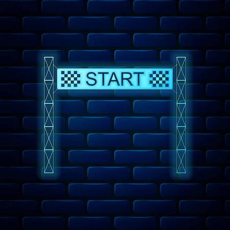 Glowing neon Starting line icon isolated on brick wall background. Start symbol. Vector Illustration