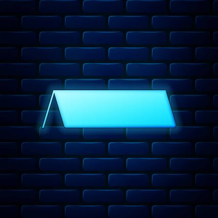 Glowing neon Blank paper table card icon isolated on brick wall background. Tent card icon. Vector Illustration