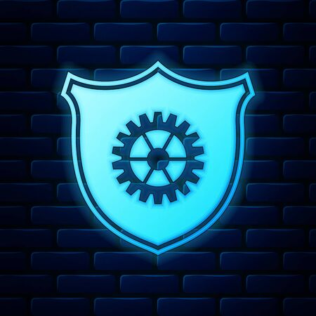 Glowing neon Shield with gear icon isolated on brick wall background. Vector Illustration