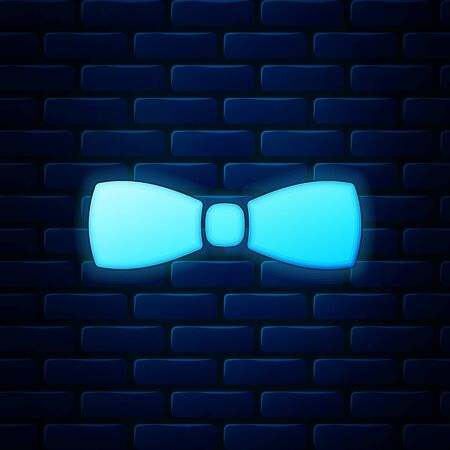 Glowing neon Bow tie icon isolated on brick wall background. Vector Illustration
