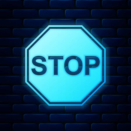 Glowing neon Stop sign icon isolated on brick wall background. Traffic regulatory warning stop symbol. Vector Illustration