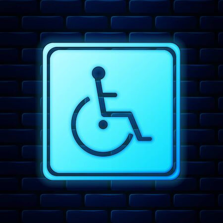 Glowing neon Disabled handicap icon isolated on brick wall background. Wheelchair handicap sign. Vector Illustration 向量圖像