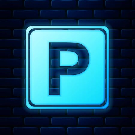 Glowing neon Parking sign icon isolated on brick wall background. Street road sign. Vector Illustration Иллюстрация