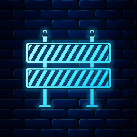 Glowing neon Road barrier icon on brick wall background. Symbol of restricted area which are in under construction processes. Fence of building or repair works sign. Hurdle icon. Vector Illustration
