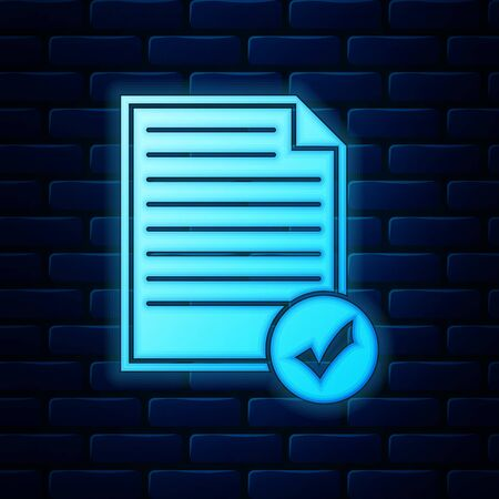 Glowing neon Document and check mark icon isolated on brick wall background. Checklist icon. Business concept. Vector Illustration Ilustração