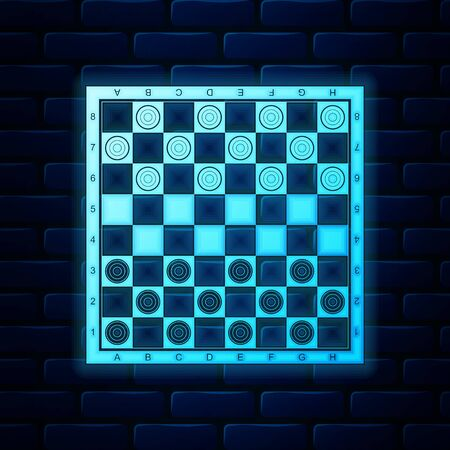 Glowing neon Board game of checkers icon isolated on brick wall background. Ancient Intellectual board game. Chess board. White and black chips. Vector Illustration