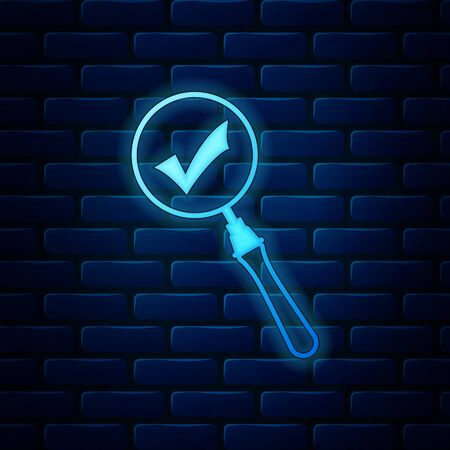Glowing neon Magnifying glass and check mark icon isolated on brick wall background. Magnifying glass and approved, confirm, done, tick, completed symbol. Vector Illustration