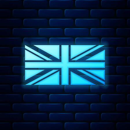 Glowing neon Flag of Great Britain icon isolated on brick wall background. UK flag sign. Official United Kingdom flag sign. British symbol. Vector Illustration Ilustrace