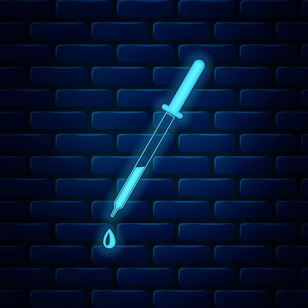 Glowing neon Pipette icon isolated on brick wall background. Element of medical, chemistry lab equipment. Pipette with drop. Medicine symbol. Vector Illustration Ilustração