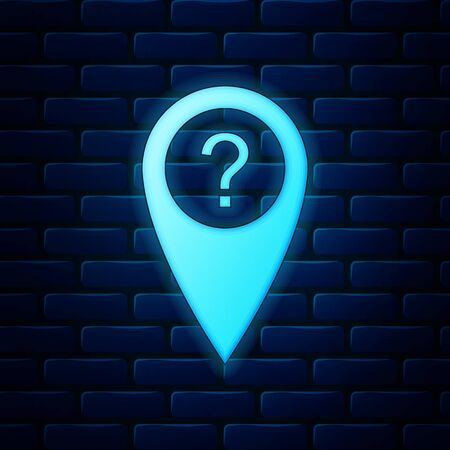 Glowing neon Map pointer with Question symbol icon isolated on brick wall background. Marker location sign. For location maps. Sign for navigation. Index location on map. Vector Illustration