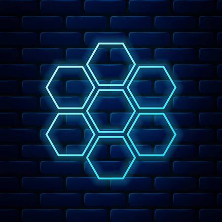 Glowing neon Honeycomb sign icon isolated on brick wall background. Honey cells symbol. Sweet natural food. Vector Illustration Ilustração