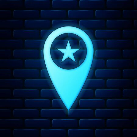 Glowing neon Map pointer with star icon isolated on brick wall background. Star favorite pin map icon. Map markers. Vector Illustration Ilustração