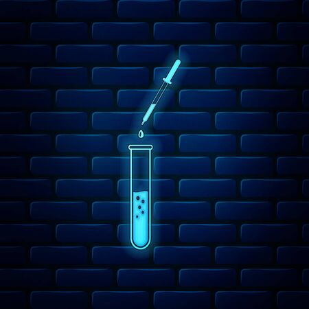 Glowing neon Laboratory pipette with liquid and falling droplet over glass test tube icon isolated on brick wall background. Laboratory research or laboratory testing. Vector Illustration