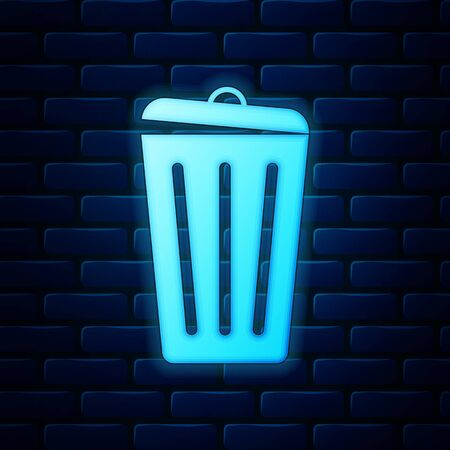 Glowing neon Trash can icon isolated on brick wall background. Garbage bin sign. Recycle basket icon. Office trash icon. Vector Illustration