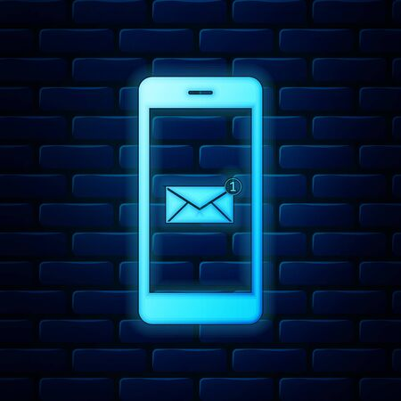 Glowing neon Received message concept. New email notification on the smartphone screen icon on brick wall background. New message on the phone screen. Mail delivery service. Vector Illustration