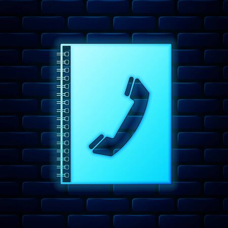 Glowing neon Phone book icon isolated on brick wall background. Address book. Telephone directory. Vector Illustration 向量圖像