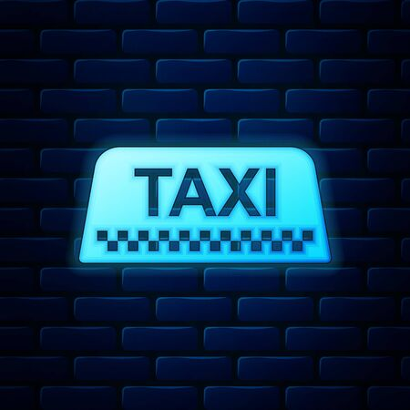 Glowing neon Taxi car roof sign icon isolated on brick wall background. Vector Illustration