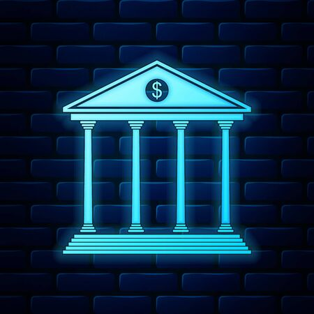 Glowing neon Bank building icon isolated on brick wall background. Vector Illustration